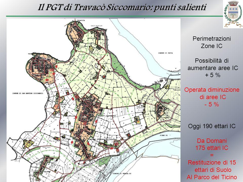 Il PGT di Travacò Siccomario: punti salienti Perimetrazioni Zone IC Possibilità di aumentare aree IC + 5 % Operata diminuzione di aree IC - 5 % Oggi 1
