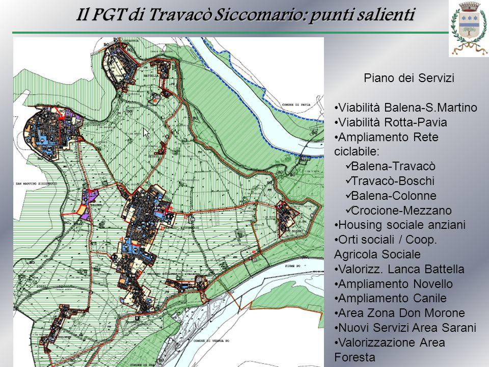 Il PGT di Travacò Siccomario: punti salienti Piano dei Servizi Viabilità Balena-S.Martino Viabilità Rotta-Pavia Ampliamento Rete ciclabile: Balena-Tra