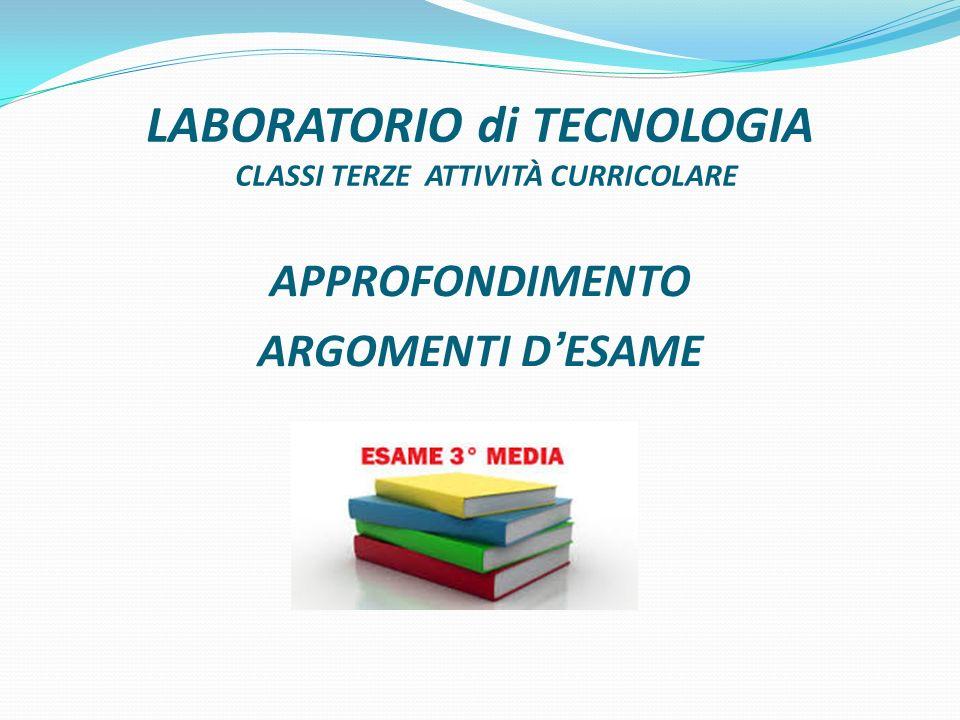 LABORATORIO di TECNOLOGIA CLASSI TERZE ATTIVITÀ CURRICOLARE APPROFONDIMENTO ARGOMENTI DESAME
