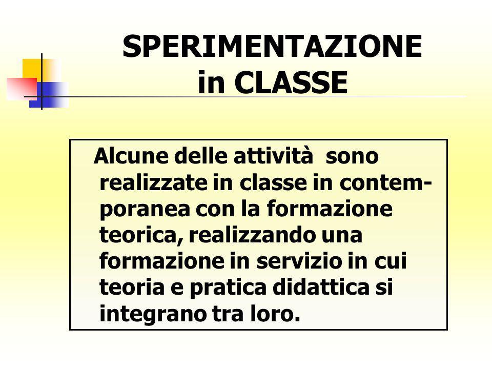 Alcune delle attività sono realizzate in classe in contem- poranea con la formazione teorica, realizzando una formazione in servizio in cui teoria e p