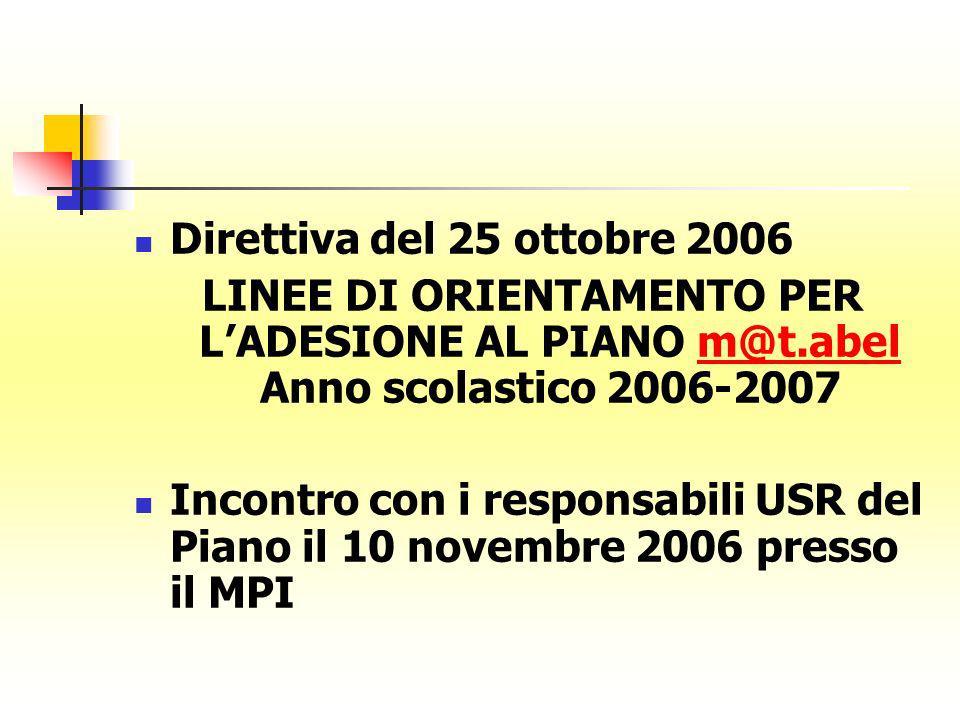 Direttiva del 25 ottobre 2006 LINEE DI ORIENTAMENTO PER LADESIONE AL PIANO m@t.abel Anno scolastico 2006-2007m@t.abel Incontro con i responsabili USR