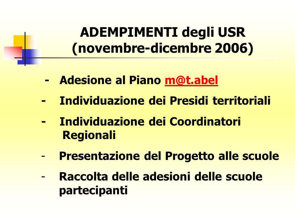 ADEMPIMENTI degli USR (novembre-dicembre 2006) - Adesione al Piano m@t.abelm@t.abel - Individuazione dei Presidi territoriali - Individuazione dei Coo