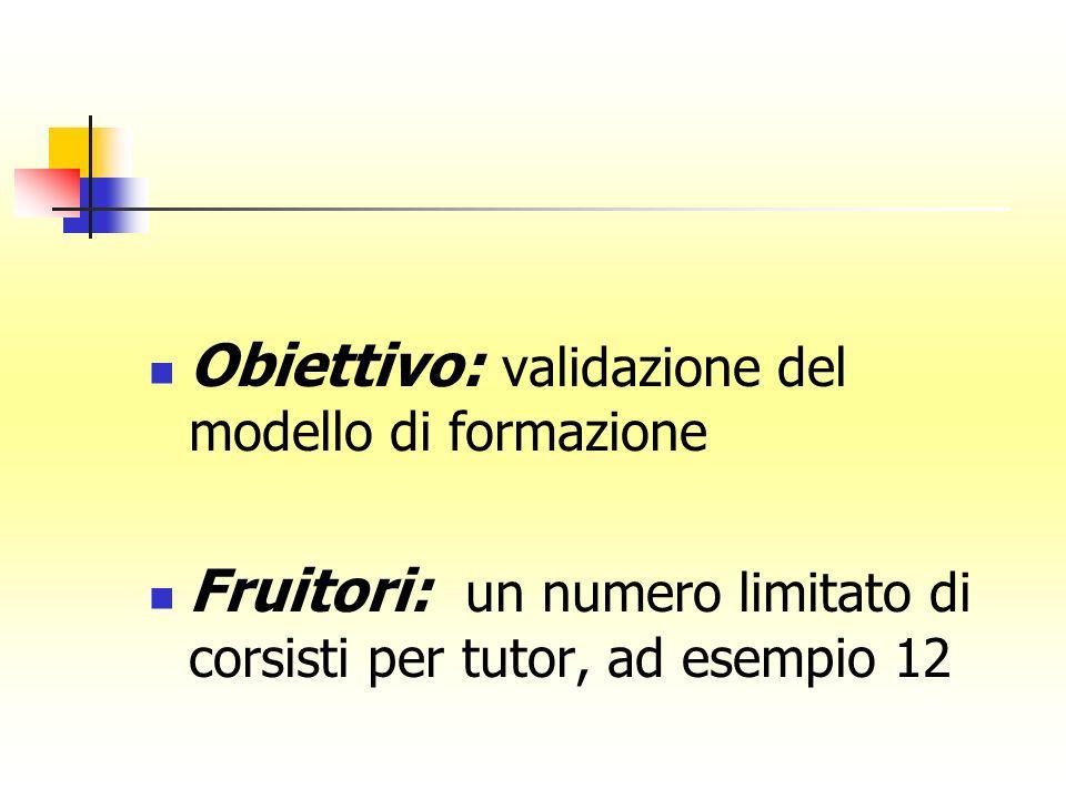 Obiettivo: validazione del modello di formazione Fruitori: un numero limitato di corsisti per tutor, ad esempio 12