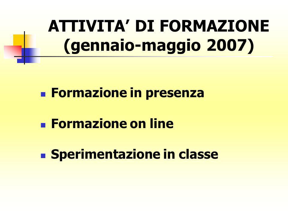 ATTIVITA DI FORMAZIONE (gennaio-maggio 2007) Formazione in presenza Formazione on line Sperimentazione in classe