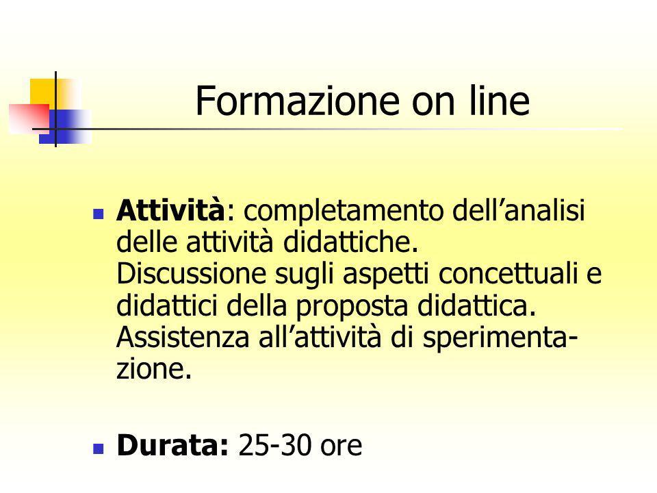 Formazione on line Attività: completamento dellanalisi delle attività didattiche. Discussione sugli aspetti concettuali e didattici della proposta did