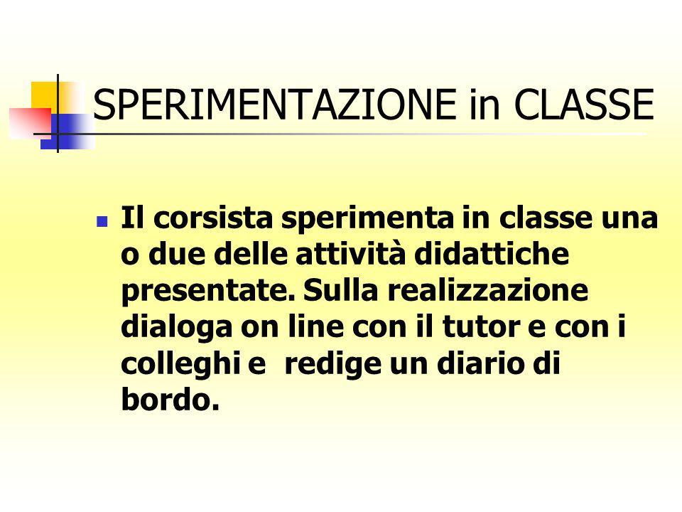 SPERIMENTAZIONE in CLASSE Il corsista sperimenta in classe una o due delle attività didattiche presentate. Sulla realizzazione dialoga on line con il