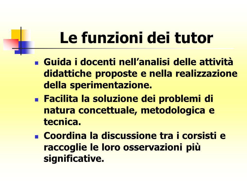 Le funzioni dei tutor Guida i docenti nellanalisi delle attività didattiche proposte e nella realizzazione della sperimentazione. Facilita la soluzion