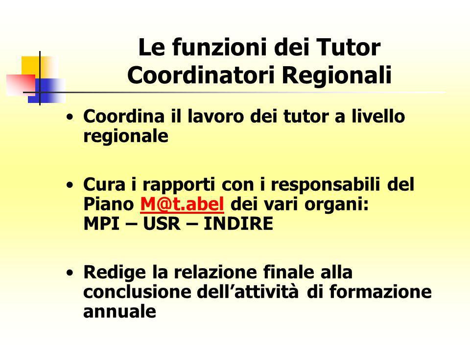 Le funzioni dei Tutor Coordinatori Regionali Coordina il lavoro dei tutor a livello regionale Cura i rapporti con i responsabili del Piano M@t.abel de