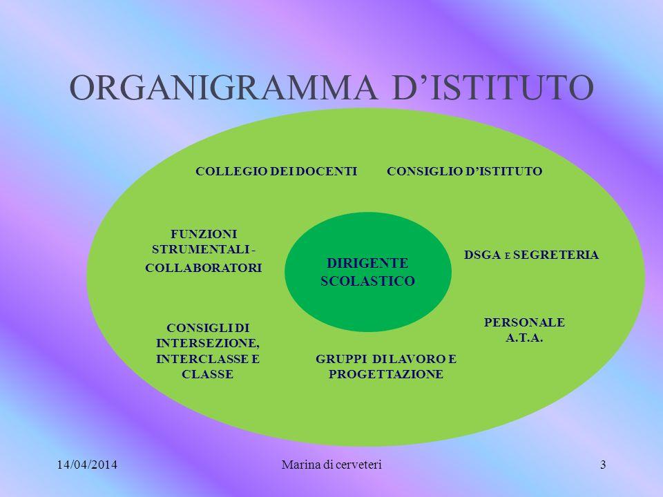 ORGANIGRAMMA DISTITUTO 14/04/2014Marina di cerveteri3 DIRIGENTE SCOLASTICO CONSIGLI DI INTERSEZIONE, INTERCLASSE E CLASSE FUNZIONI STRUMENTALI - COLLABORATORI COLLEGIO DEI DOCENTICONSIGLIO DISTITUTO DSGA E SEGRETERIA GRUPPI DI LAVORO E PROGETTAZIONE PERSONALE A.T.A.