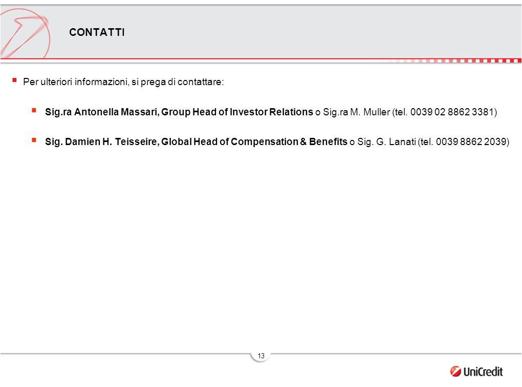 13 CONTATTI Per ulteriori informazioni, si prega di contattare: Sig.ra Antonella Massari, Group Head of Investor Relations o Sig.ra M.