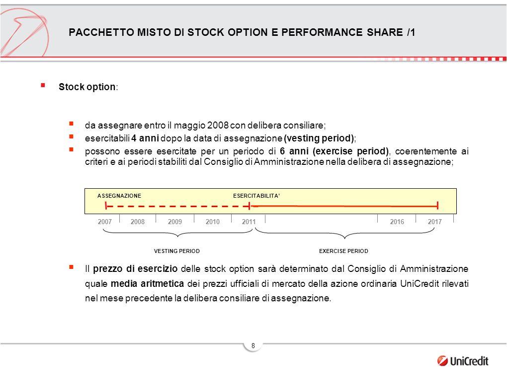 8 PACCHETTO MISTO DI STOCK OPTION E PERFORMANCE SHARE /1 Stock option: da assegnare entro il maggio 2008 con delibera consiliare; esercitabili 4 anni dopo la data di assegnazione (vesting period); possono essere esercitate per un periodo di 6 anni (exercise period), coerentemente ai criteri e ai periodi stabiliti dal Consiglio di Amministrazione nella delibera di assegnazione; Il prezzo di esercizio delle stock option sarà determinato dal Consiglio di Amministrazione quale media aritmetica dei prezzi ufficiali di mercato della azione ordinaria UniCredit rilevati nel mese precedente la delibera consiliare di assegnazione.