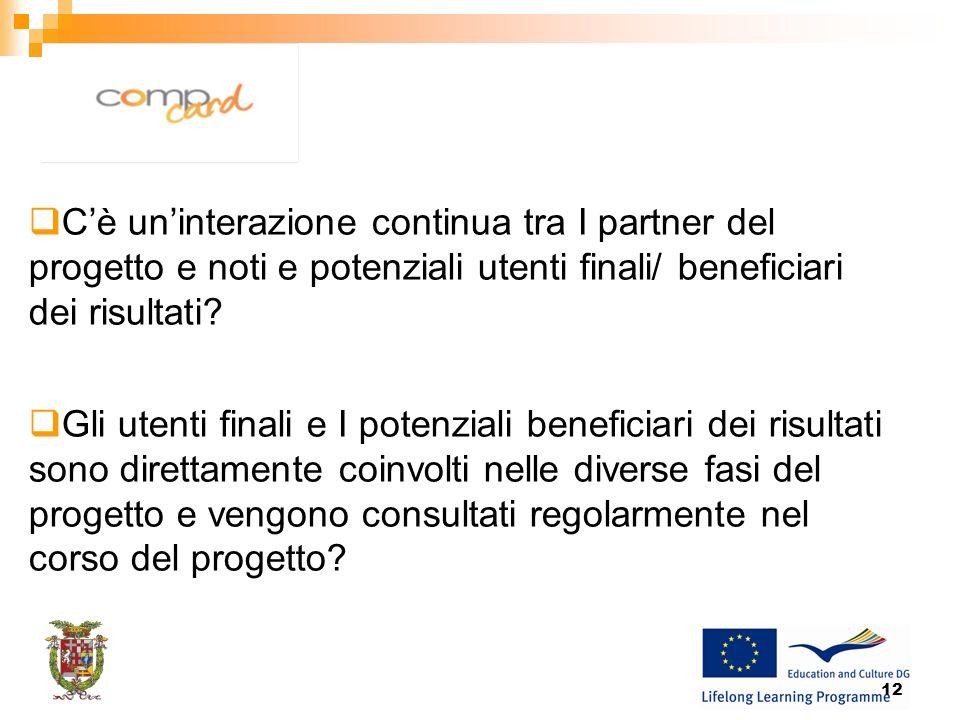 12 Cè uninterazione continua tra I partner del progetto e noti e potenziali utenti finali/ beneficiari dei risultati.