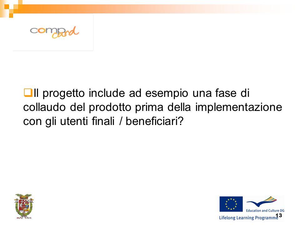13 Il progetto include ad esempio una fase di collaudo del prodotto prima della implementazione con gli utenti finali / beneficiari