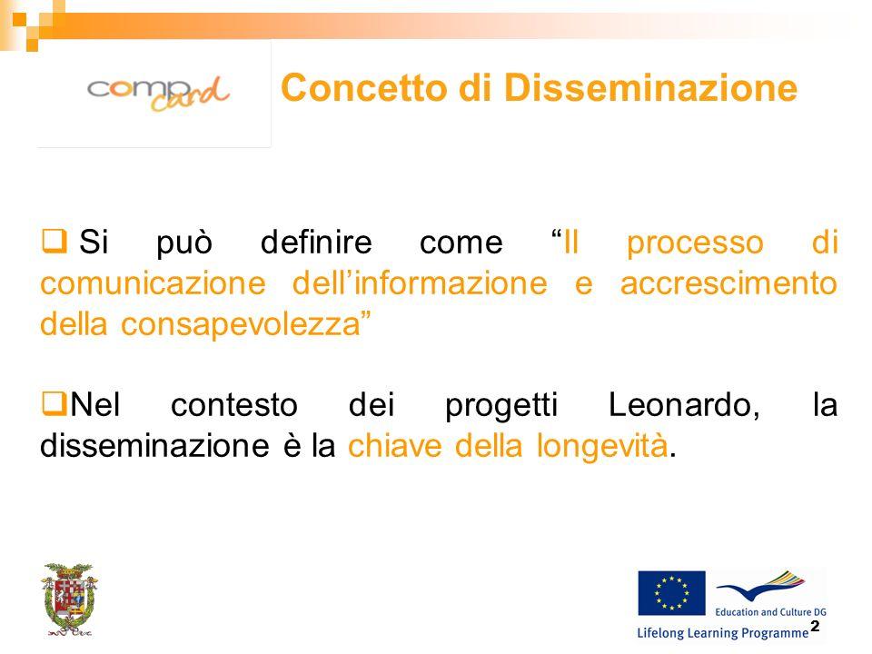 2 Si può definire come Il processo di comunicazione dellinformazione e accrescimento della consapevolezza Nel contesto dei progetti Leonardo, la disseminazione è la chiave della longevità.