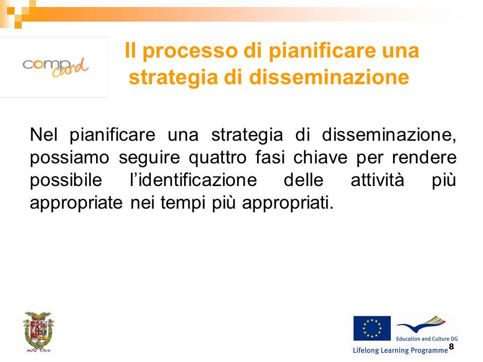 8 Il processo di pianificare una strategia di disseminazione Nel pianificare una strategia di disseminazione, possiamo seguire quattro fasi chiave per rendere possibile lidentificazione delle attività più appropriate nei tempi più appropriati.