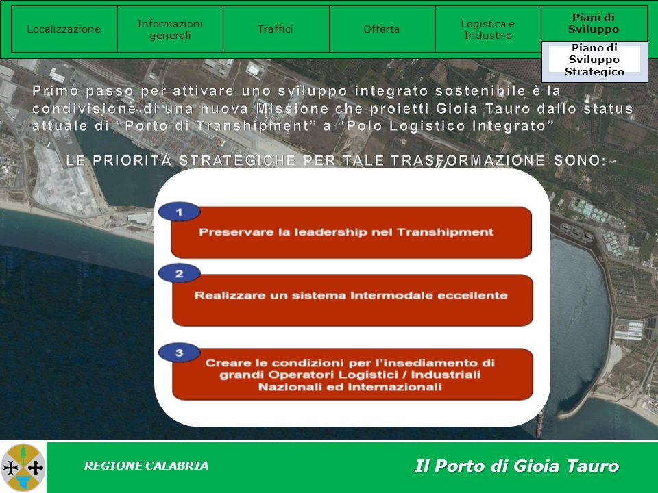 Il Porto di Gioia Tauro Localizzazione Informazioni generali Offerta Logistica e Industrie Piani di Sviluppo Traffici REGIONE CALABRIA Piano di Sviluppo Strategico
