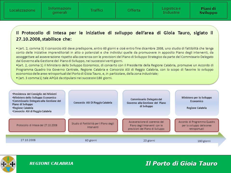 Il Porto di Gioia Tauro Localizzazione Informazioni generali Offerta Logistica e Industrie Piani di Sviluppo Traffici REGIONE CALABRIA Il Protocollo di Intesa per le iniziative di sviluppo dellarea di Gioia Tauro, siglato il 27.10.2008, stabilisce che: (art.