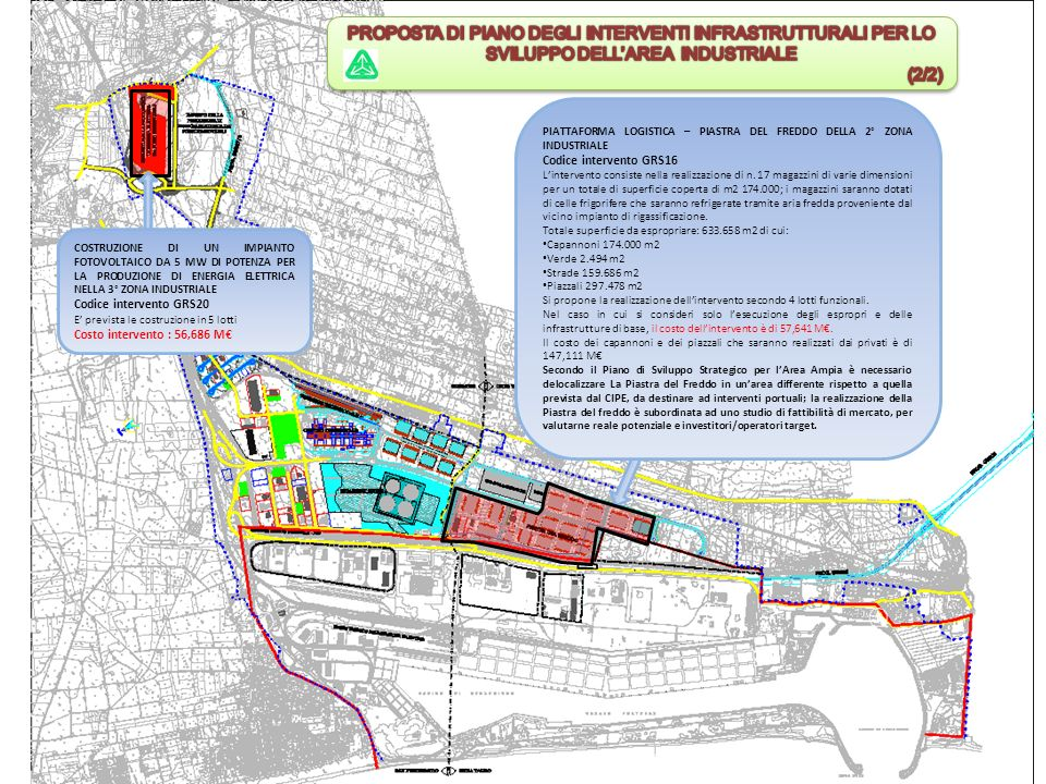 PIATTAFORMA LOGISTICA – PIASTRA DEL FREDDO DELLA 2° ZONA INDUSTRIALE Codice intervento GRS16 Lintervento consiste nella realizzazione di n.