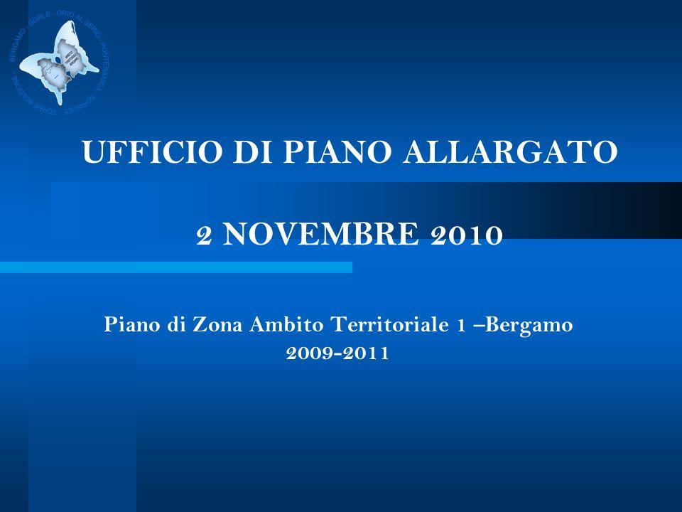 UFFICIO DI PIANO ALLARGATO 2 NOVEMBRE 2010 Piano di Zona Ambito Territoriale 1 –Bergamo 2009-2011