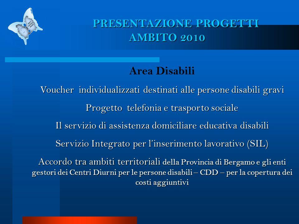 Area Disabili Voucher individualizzati destinati alle persone disabili gravi Progetto telefonia e trasporto sociale Il servizio di assistenza domicili