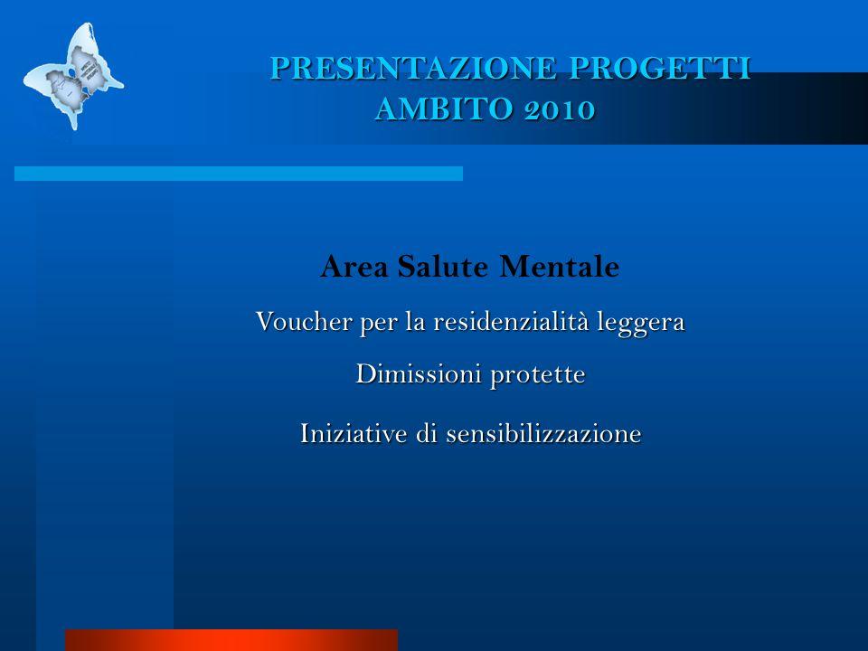 PRESENTAZIONE PROGETTI AMBITO 2010 Area Salute Mentale Voucher per la residenzialità leggera Dimissioni protette Iniziative di sensibilizzazione