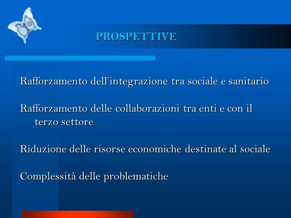 PROSPETTIVE Rafforzamento dellintegrazione tra sociale e sanitario Rafforzamento delle collaborazioni tra enti e con il terzo settore Riduzione delle