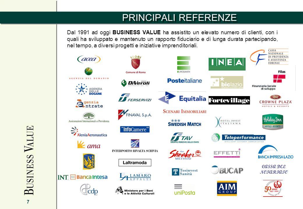 PRINCIPALI REFERENZE 7 Dal 1991 ad oggi BUSINESS VALUE ha assistito un elevato numero di clienti, con i quali ha sviluppato e mantenuto un rapporto fiduciario e di lunga durata partecipando, nel tempo, a diversi progetti e iniziative imprenditoriali.