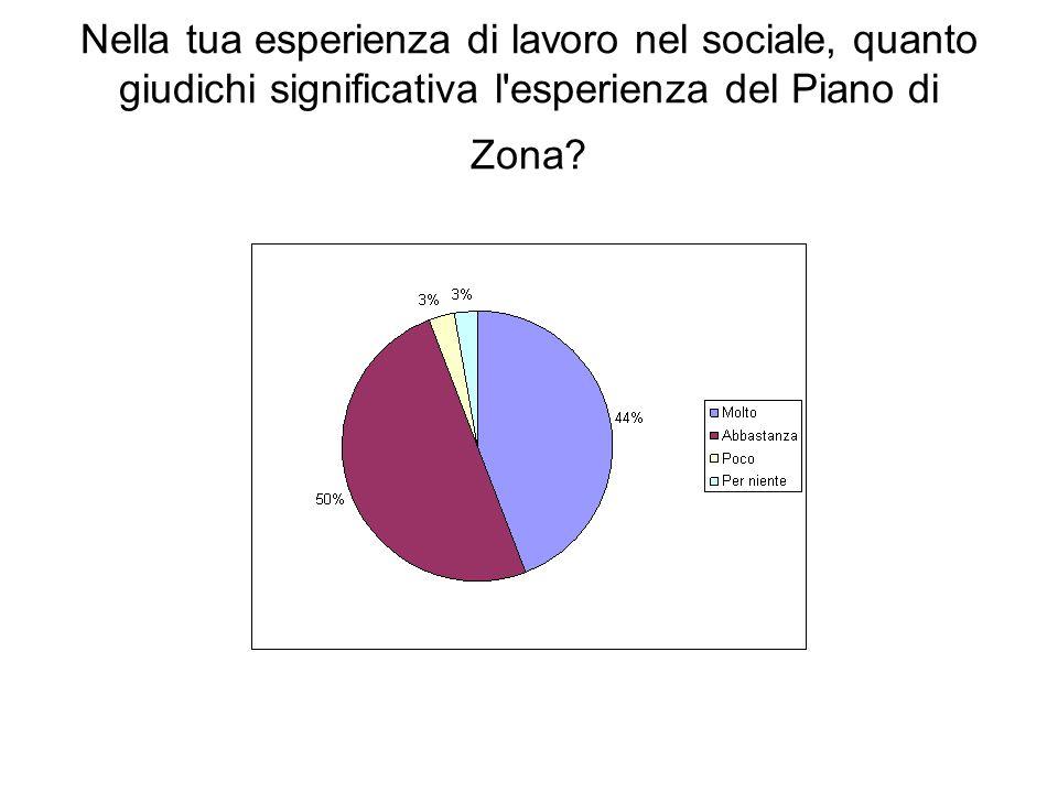 Nella tua esperienza di lavoro nel sociale, quanto giudichi significativa l'esperienza del Piano di Zona?