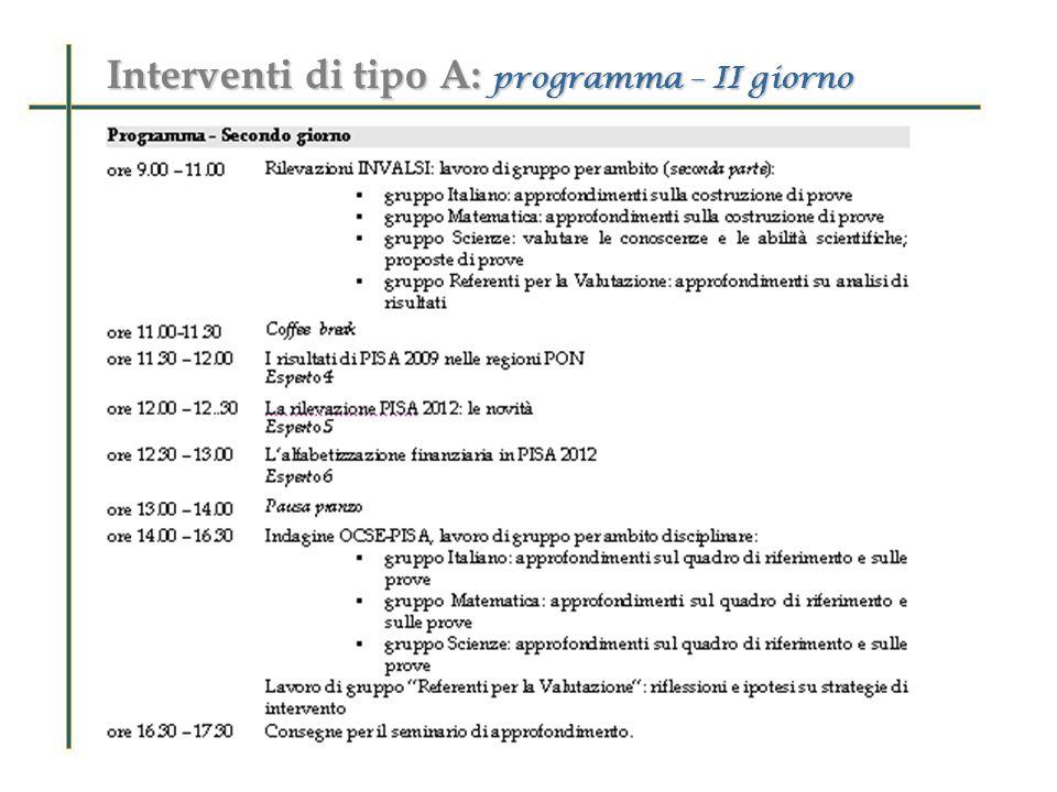 Interventi di tipo A: programma – II giorno