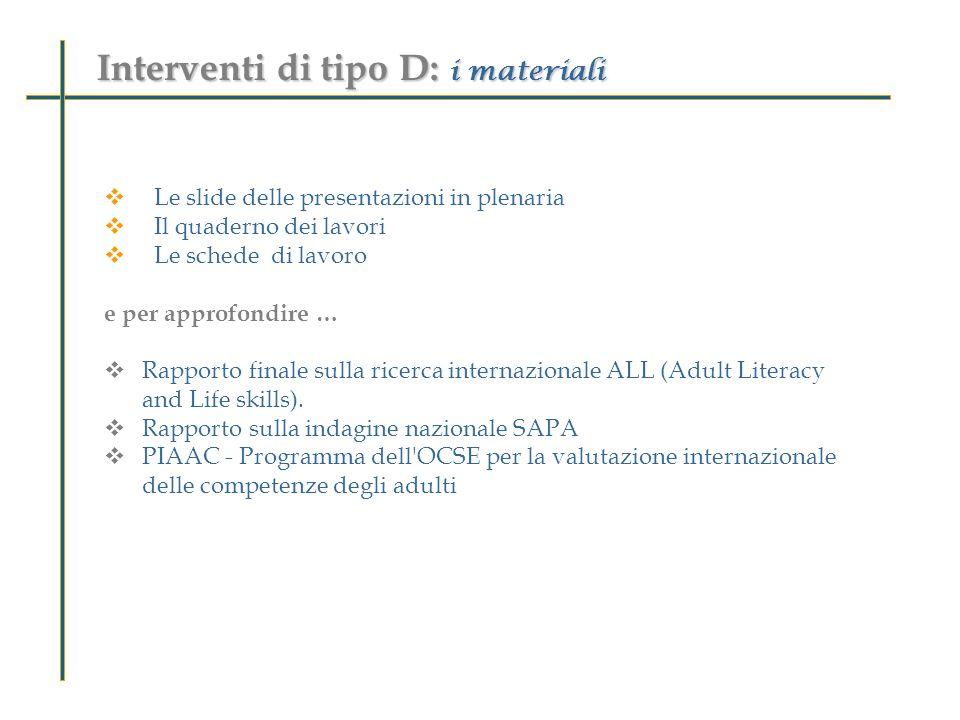 Interventi di tipo D: i materiali Le slide delle presentazioni in plenaria Il quaderno dei lavori Le schede di lavoro e per approfondire … Rapporto fi
