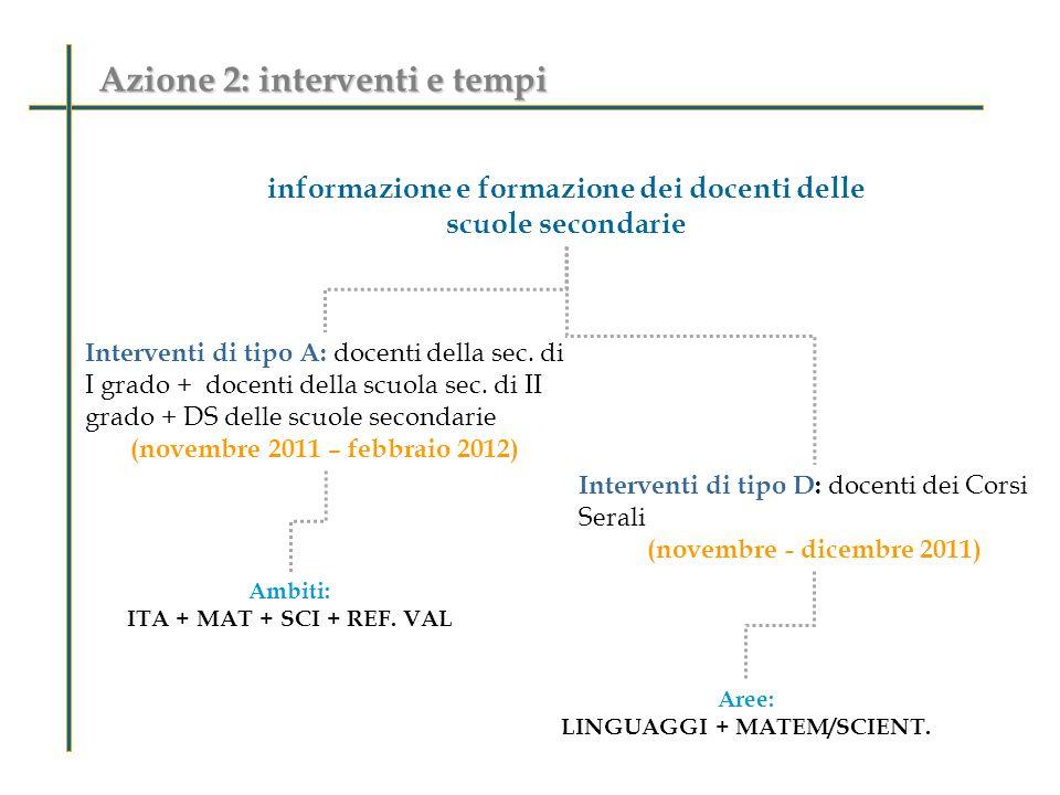 Azione 2: interventi e tempi informazione e formazione dei docenti delle scuole secondarie Interventi di tipo A: docenti della sec. di I grado + docen