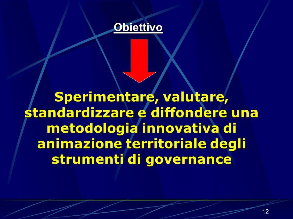 12 Obiettivo Sperimentare, valutare, standardizzare e diffondere una metodologia innovativa di animazione territoriale degli strumenti di governance