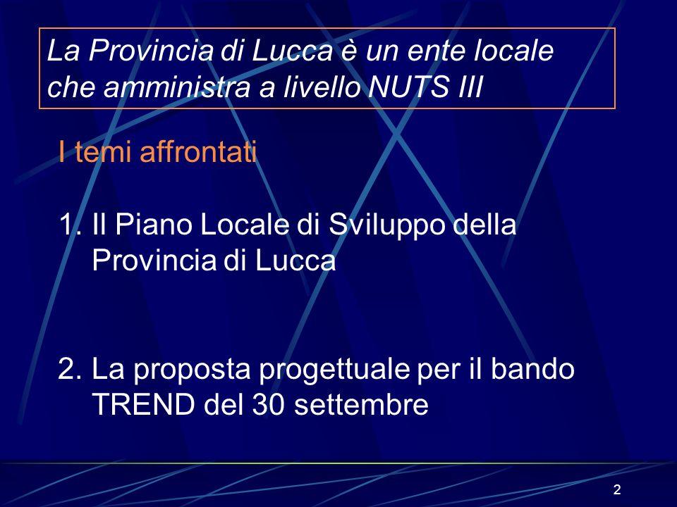 2 La Provincia di Lucca è un ente locale che amministra a livello NUTS III I temi affrontati 1.Il Piano Locale di Sviluppo della Provincia di Lucca 2.
