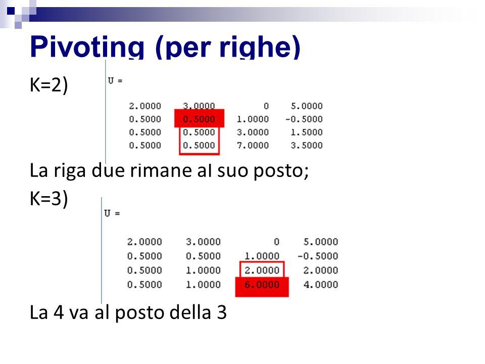 Pivoting (per righe) K=2) La riga due rimane al suo posto; K=3) La 4 va al posto della 3