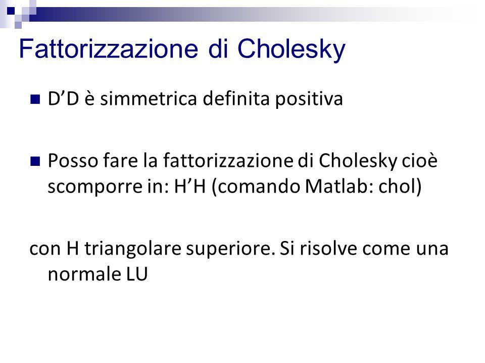 Fattorizzazione di Cholesky DD è simmetrica definita positiva Posso fare la fattorizzazione di Cholesky cioè scomporre in: HH (comando Matlab: chol) c