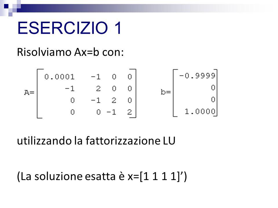 ESERCIZIO 1 Risolviamo Ax=b con: utilizzando la fattorizzazione LU (La soluzione esatta è x=[1 1 1 1])