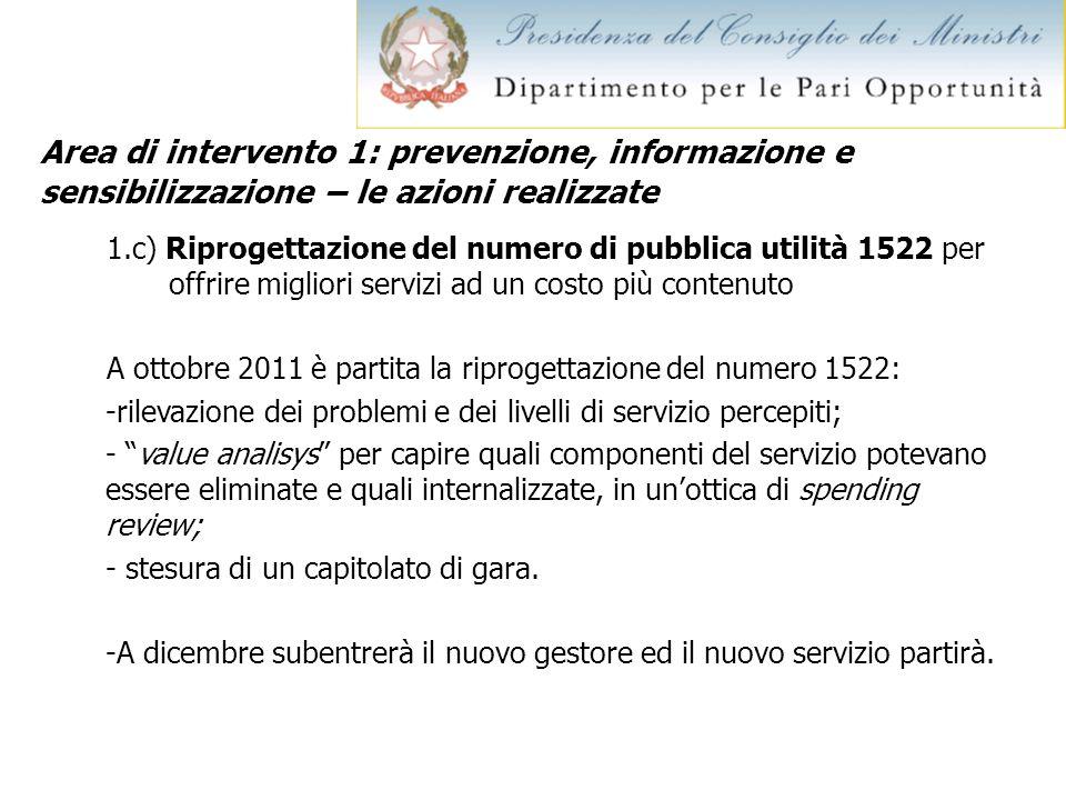 Area di intervento 1: prevenzione, informazione e sensibilizzazione – le azioni realizzate 1.c) Riprogettazione del numero di pubblica utilità 1522 pe