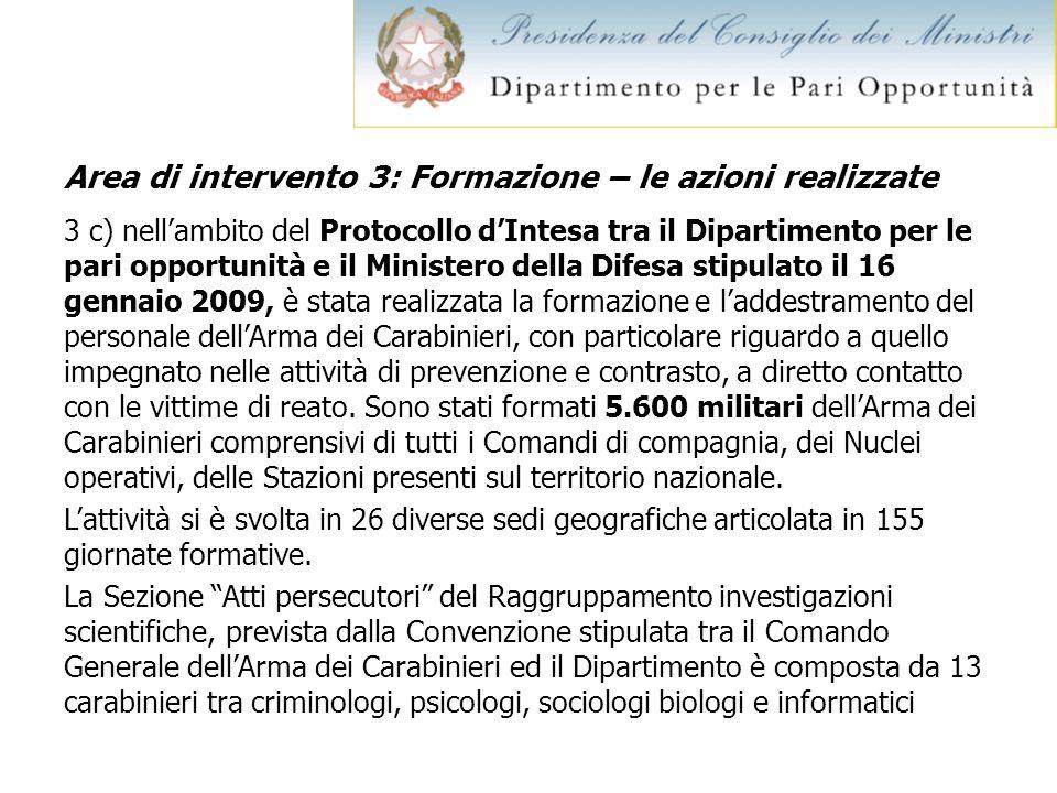 Area di intervento 3: Formazione – le azioni realizzate 3 c) nellambito del Protocollo dIntesa tra il Dipartimento per le pari opportunità e il Minist
