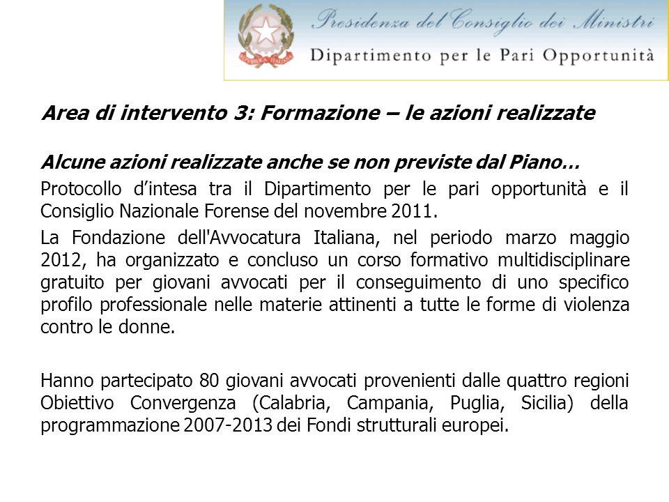 Area di intervento 3: Formazione – le azioni realizzate Alcune azioni realizzate anche se non previste dal Piano… Protocollo dintesa tra il Dipartimen
