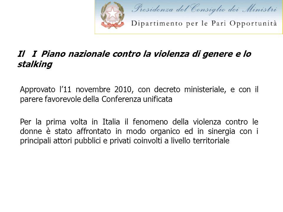Il I Piano nazionale contro la violenza di genere e lo stalking Approvato l11 novembre 2010, con decreto ministeriale, e con il parere favorevole dell