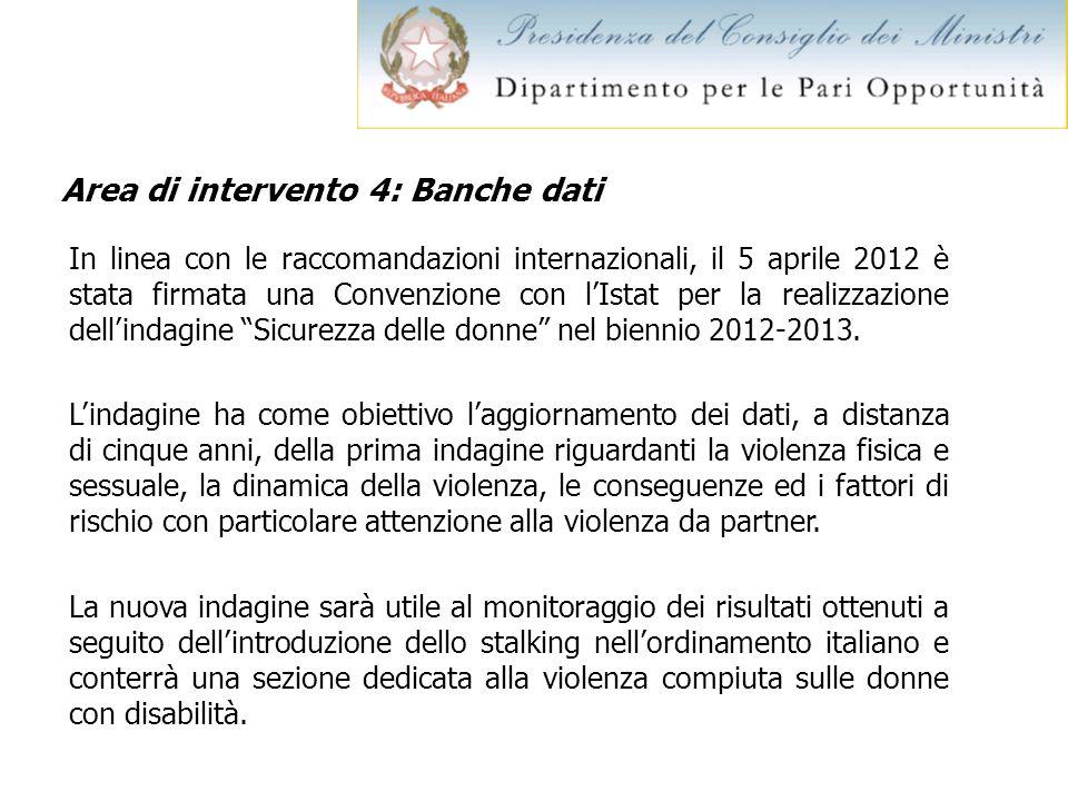Area di intervento 4: Banche dati In linea con le raccomandazioni internazionali, il 5 aprile 2012 è stata firmata una Convenzione con lIstat per la r