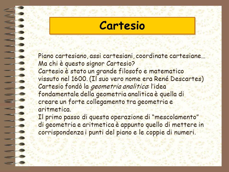 Cartesio Piano cartesiano, assi cartesiani, coordinate cartesiane… Ma chi è questo signor Cartesio? Cartesio è stato un grande filosofo e matematico v