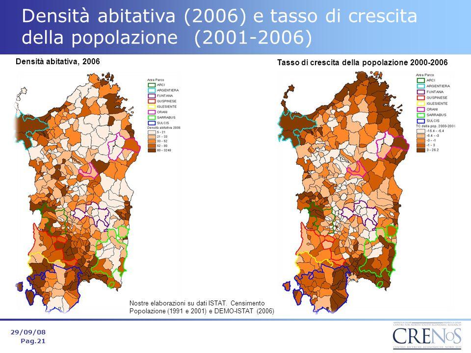 Densità abitativa (2006) e tasso di crescita della popolazione (2001-2006) 29/09/08 Pag.21 Nostre elaborazioni su dati ISTAT.