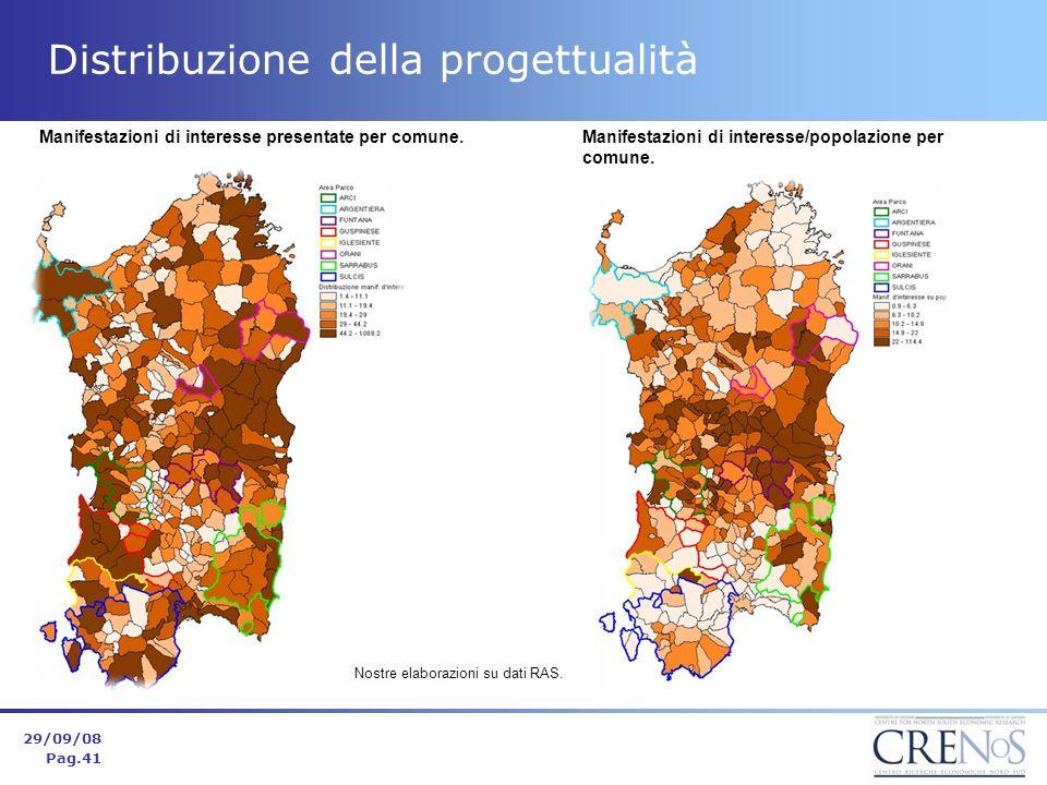 Distribuzione della progettualità 29/09/08 Pag.41 Manifestazioni di interesse presentate per comune.Manifestazioni di interesse/popolazione per comune.