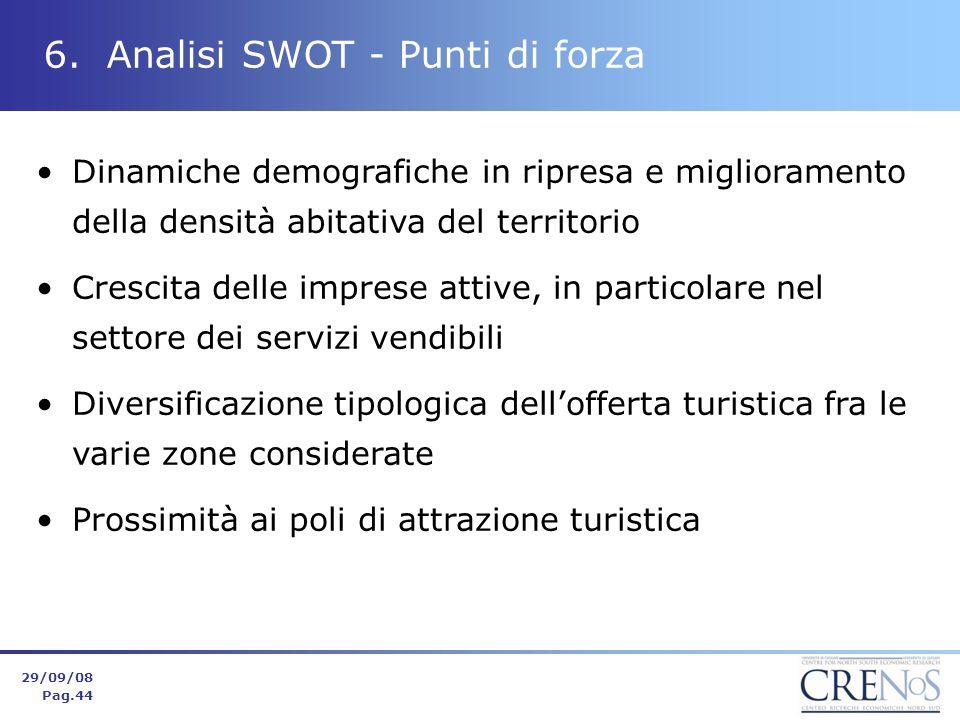 6. Analisi SWOT - Punti di forza Dinamiche demografiche in ripresa e miglioramento della densità abitativa del territorio Crescita delle imprese attiv