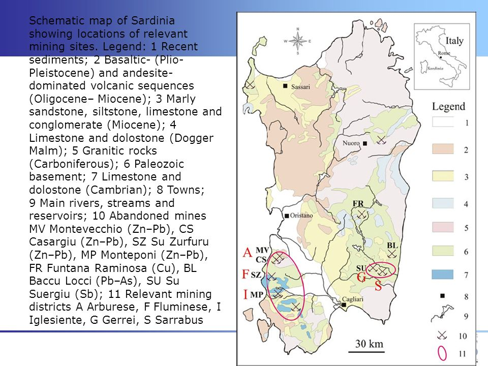 Schematic map of Sardinia showing locations of relevant mining sites. Legend: 1 Recent sediments; 2 Basaltic- (Plio- Pleistocene) and andesite- domina