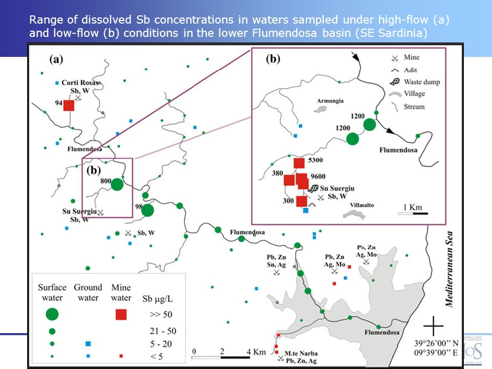 Range of dissolved Sb concentrations in waters sampled under high-flow (a) and low-flow (b) conditions in the lower Flumendosa basin (SE Sardinia)