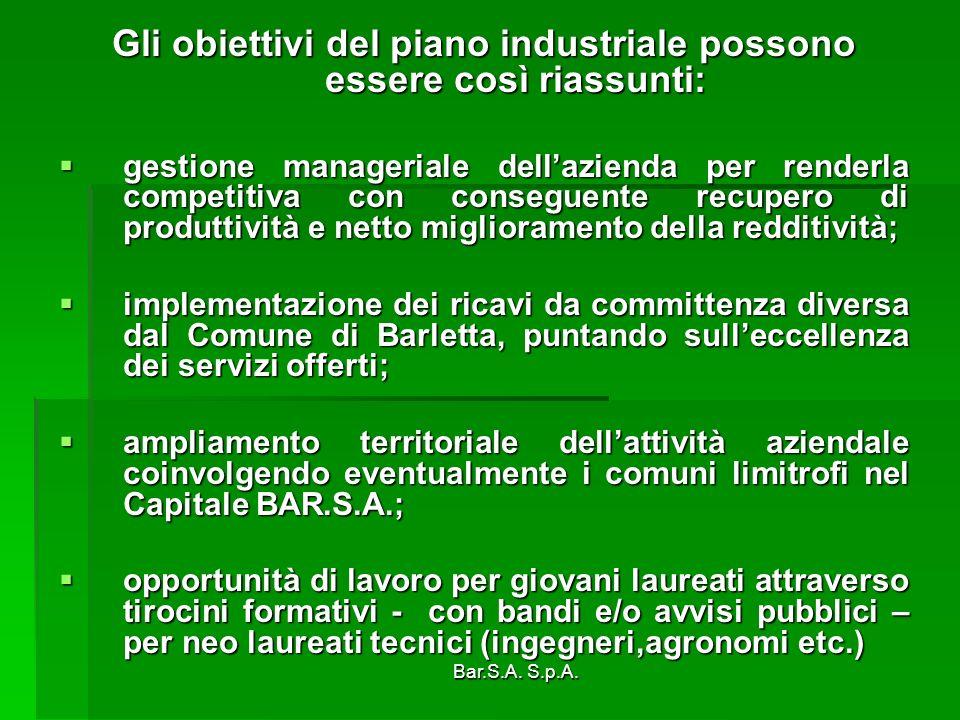 Bar.S.A. S.p.A. Gli obiettivi del piano industriale possono essere così riassunti: gestione manageriale dellazienda per renderla competitiva con conse