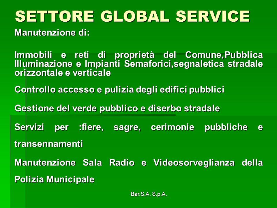 Bar.S.A. S.p.A. SETTORE GLOBAL SERVICE Manutenzione di: Immobili e reti di proprietà del Comune,Pubblica Illuminazione e Impianti Semaforici,segnaleti