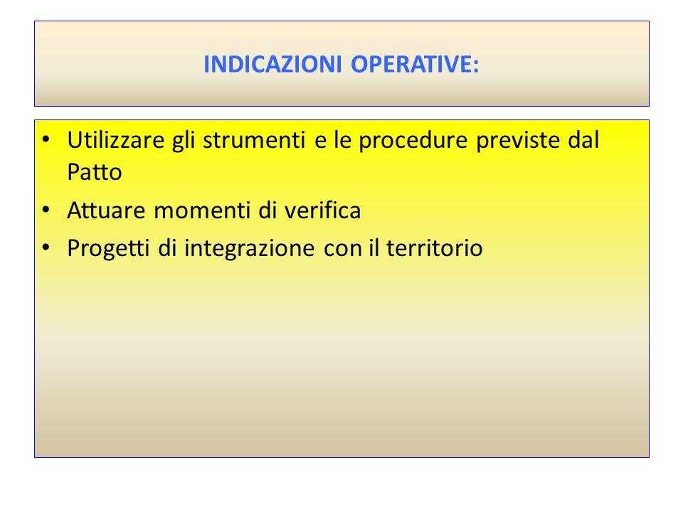 INDICAZIONI OPERATIVE: Utilizzare gli strumenti e le procedure previste dal Patto Attuare momenti di verifica Progetti di integrazione con il territor